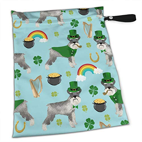 St Patricks Day Leprechaun Schnauzer Dog Rainbow Premium Wet Bag Baby Wet Dry Cloth Diaper Nappy Stroller Bags Waterproof Reusable Wet Bags for Swimsuit Wet Clothes Baby Items with Zipper]()