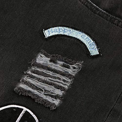 Con Uomo Stretch Fori Classiche Strappati Ragazzi Dunkelgrau Estivi Neri Jeans Pantaloni 5qY8O7