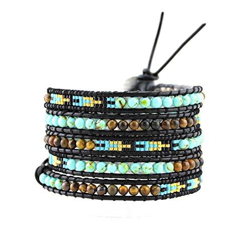 [Womens Simulated Gemstones Beaded Leather Wrap Around Bracelet (Tiger Eye & Blue Beads)] (Indian Beaded Bracelet)