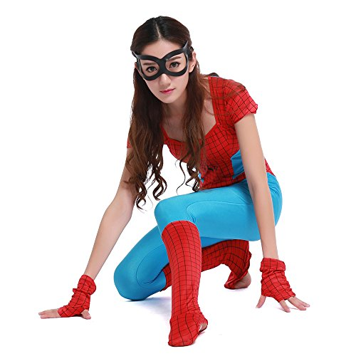 POP Style Women's Halloween Spidergirl Cosplay One Piece Spiderman Costume (Spider Pops Halloween)