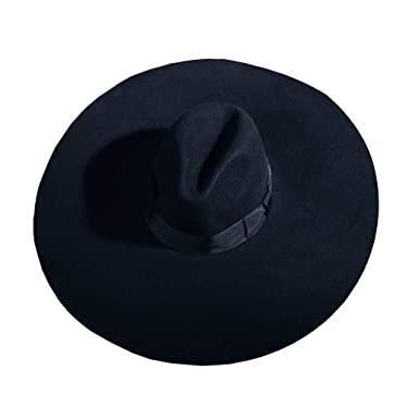 d03b4564177c8 ByTheR Unisex Modern Chic Classic Style Floppy Wide Brim Fedora Hat Black