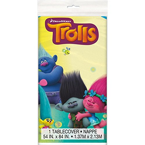 "3 Packs of Unique 54"" x 84"" Trolls Plastic Table Cover bundled by Maven Gifts"
