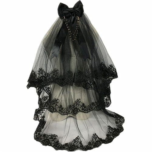 Lolita Gothic Black Wedding Lace Two Layers Veil Bridal Veil Accessories Halloween Party Dress With Comb