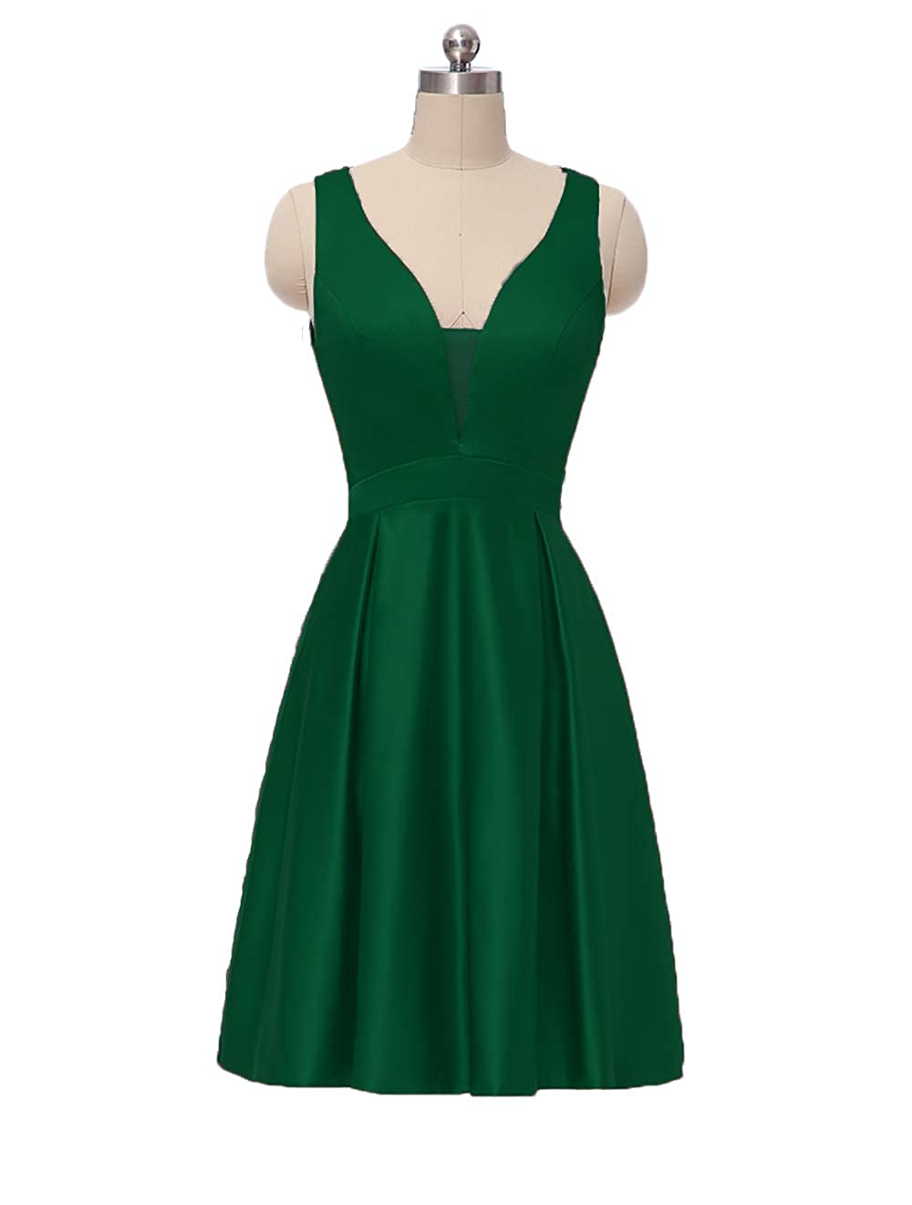 Zemerald Green JiusTan Sexy V Neck Prom Dresses Spaghetti Strap Satin Long Evening Dresses Party Gowns for Women with Pockets 2019