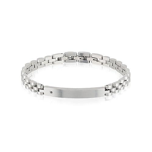ed0252bc6d5da0 Bracciale Uomo Acciaio e Diamante Nero Black Diamond Breil: Amazon.it:  Gioielli