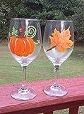 Orange Maple Leaf & Pumpkin (Set of 2) Stemmed Hand Painted 20 oz Wine Glasses