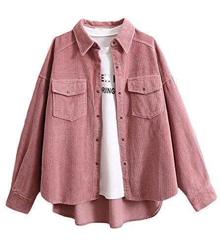 Gihuo Women's Boyfriend Corduroy Button Down Shirt Jacket (Pink, S)