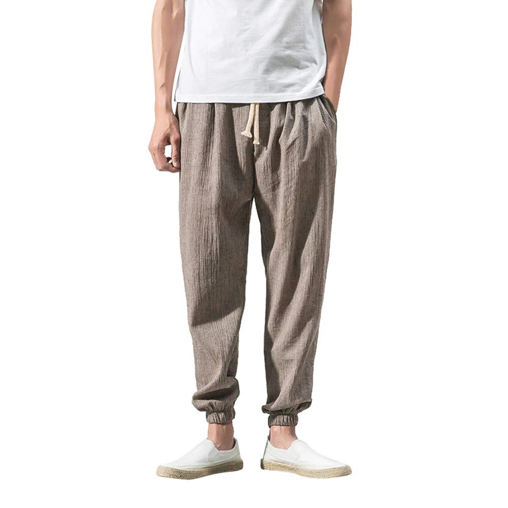 Spbamboo Mens Casual Pants Slim Sports Pants Ankle Length Linen Baggy Trousers