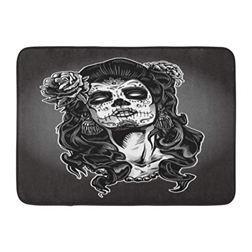 Emvency Doormats Bath Rugs Outdoor/Indoor Door Mat Gray Tattoo Woman Sugar Skull Face Paint Dead Day Zombie Halloween Bathroom Decor Rug Bath Mat 16
