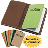 """Handcrafted Stitched Leather Journal Notebook Cover with Inside Pocket: Includes 8 Bonus Refillable Field Note Book Journals/Compatible with Field Notes and Moleskine Cahier Notebook (3.5""""x5.5"""")"""