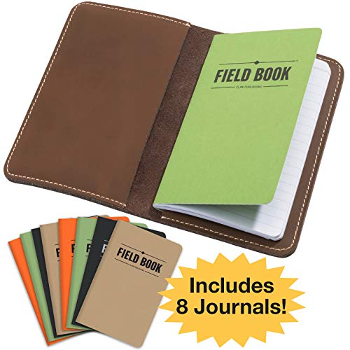 Handcrafted Stitched Leather Journal Notebook Cover with Inside Pocket: Includes 8 Bonus Refillable Field Note Book Journals/Compatible with Field Notes and Moleskine Cahier Notebook (3.5