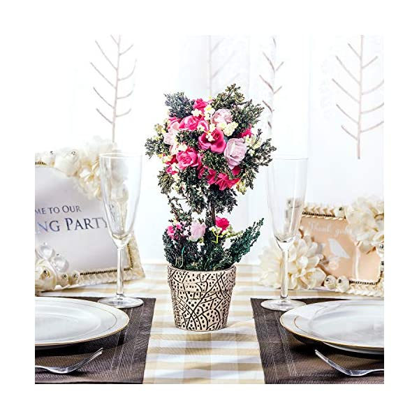 BEGONDIS Artificial Rose Flowers Bouquets with Ceramic Pot, 11.8″ Fake Silk Floral Arrangement for Home Office Decorations, Wedding Table Centerpieces Indoor Outdoor.(Pink)