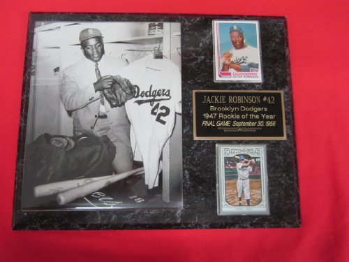 - Jackie Robinson Brooklyn Dodgers LAST GAME 2 Card Collector Plaque w/8x10 RARE Photo