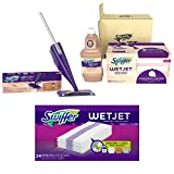 Bundle: Swiffer WetJet Wood Floor Mopping & Cleaning Refills, 20 Pads + Swiffer WetJet Wood Floor Mopping and Cleaning Starter Kit (1 Mop, 5 Pads) + Swiffer Wetjet Hardwood Mop Pad Refills, 24 Count.