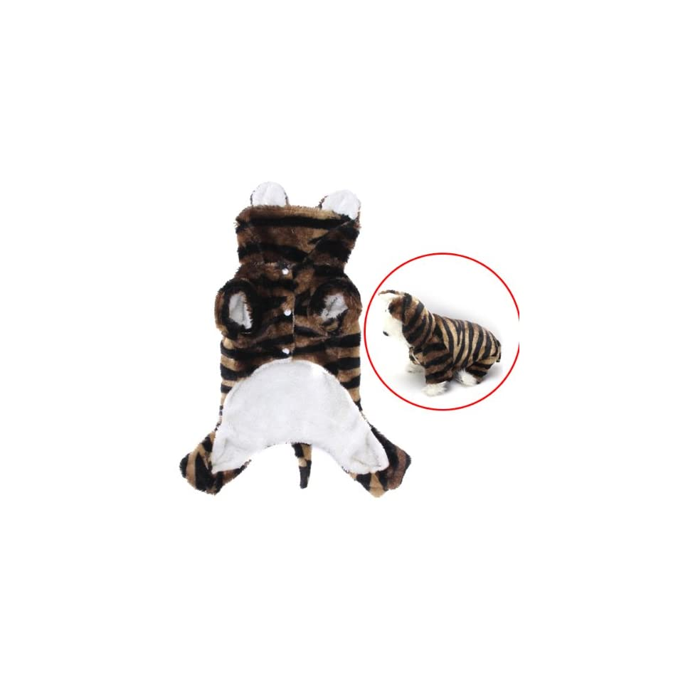 Pet Dog Tiger Print Costume Hoodie Autumn Winter Coat Jumpsuit (L)