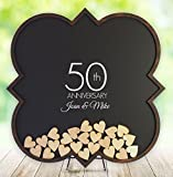50th anniversary gifts , 50th anniversary guest book, 50th anniversary gift idea, Golden anniversary, Drop Heart Guest Book