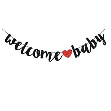 Welcome Baby Banner Black Baby Shower Gender Reveal Pregnancy Announcement Party Sign Decorations Amazon In Health Personal Care