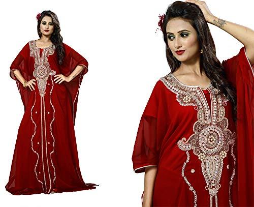 OKM Women's Dubai Style Kaftan Caftan Farasha Maxi Dress DN26 - Maroon