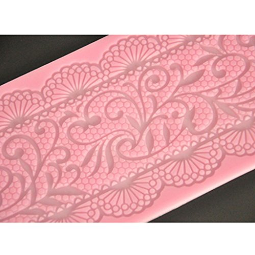 FOUR-C Lace Cake Mold Silicone Lace Mat Decoration Pad for Cake Baking Color Pink
