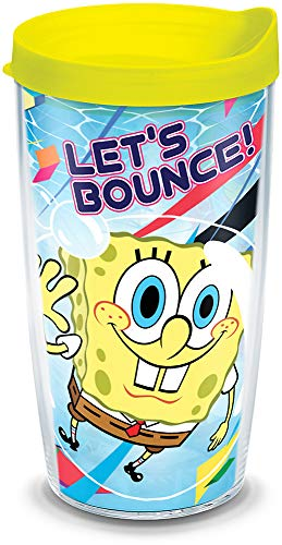 Tervis 1141945 Nickelodeon - SpongeBob Squarepants Tumbler with Wrap and Neon Yellow Lid 16oz, Clear