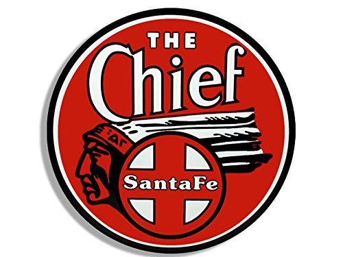 GHaynes Distributing Round Red THE CHIEF Santa Fe Railroad Sticker Decal (rr railway rail logo) 4 x 4 inch ()
