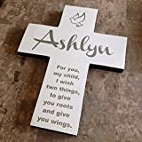 Cross Personalized with name on Pine Wood w/Dove (Roots & Wings) Shabby effect for Baptism, Easter, Birthday, First communion or any event, gift for boy or girl. Handmade in the USA Review