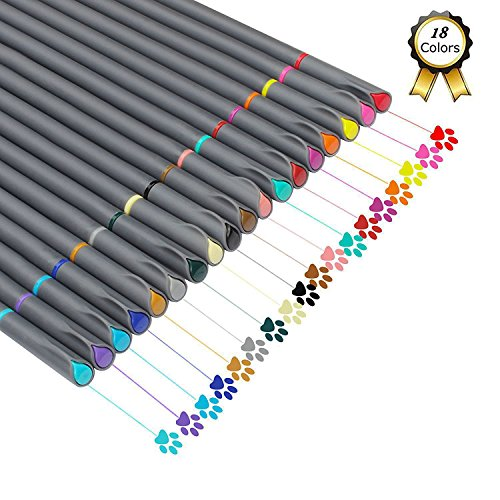 Huhuhero Fineliner Color Pen Set 18pc Porous Fine Point Markers Deal (Large Image)