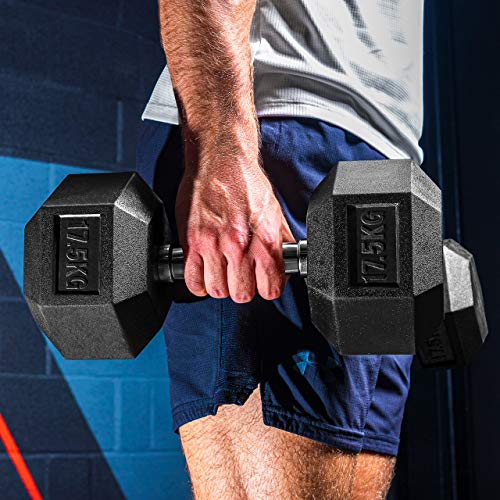 Pair 1-22lbs METIS Neoprene Hex Dumbbells GYM//HOME HAND WEIGHTS Workout