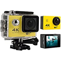 niceEshop(TM) 4K HD Wifi Action Camera 2.0 Inch 170 Degree Wide Angle Lens Action Camera WIFI 4k Waterproof Sports Action Camera (Yellow)