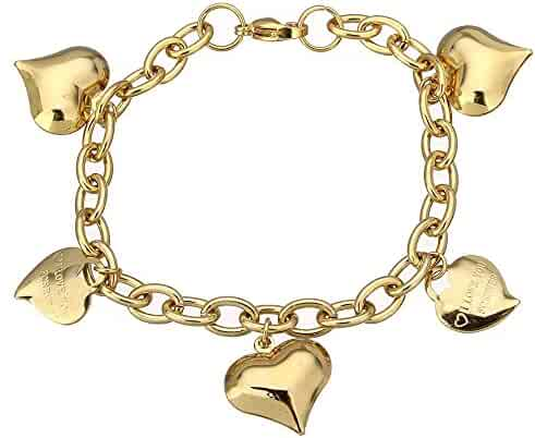 Girls Fashion Stainless Steel Gold Tone Chain Link Bracelet with Dangling Rocking Horse /& Music Notes 439701 66