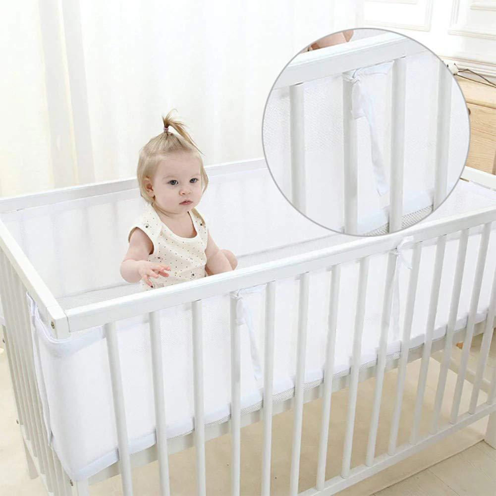 "Baby Crib Bumper Mesh Girl Baby Boy Bumper Crib White 2 Piece 134/""x 11/"",63/""x11/"""