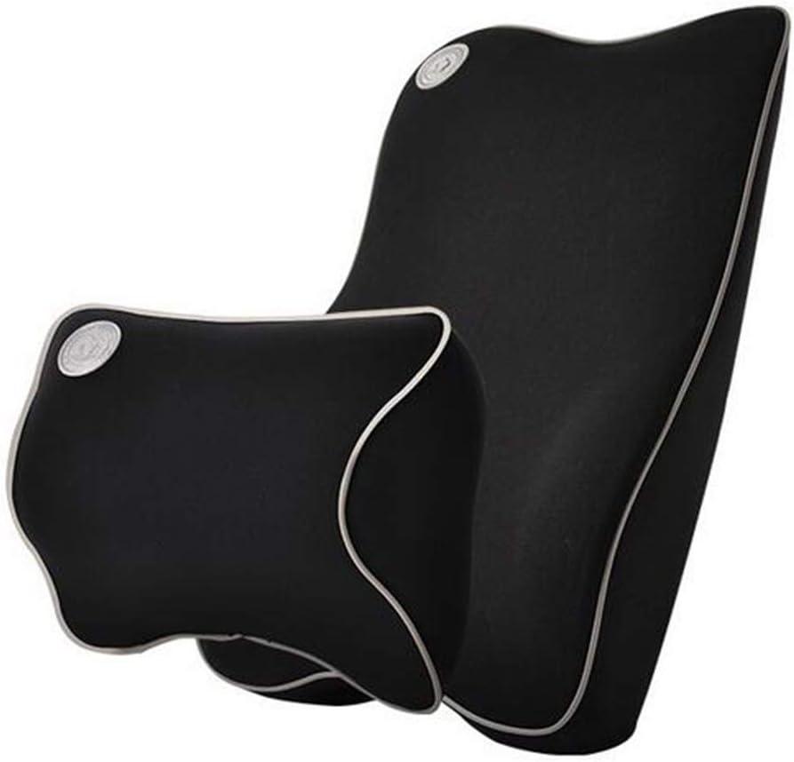 Ecloud Shop® Cojín de Soporte Lumbar para Coche y reposacabezas Kit de Almohada para Cuello - Diseño ergonómico Asiento de automóvil Principal para Ajuste Universal - Negro