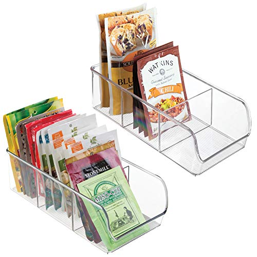 Keep Hot Shelf Accessory - mDesign Plastic Food Packet Kitchen Storage Organizer Bin Caddy - Holds Spice Pouches, Dressing Mixes, Hot Chocolate, Tea, Sugar Packets in Pantry, Cabinets or Countertop - BPA Free - 2 Pack, Clear