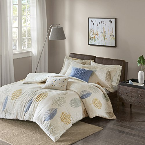 Mina Cotton Flannel Duvet Cover Set Blue Full/Queen (Park Flannel)