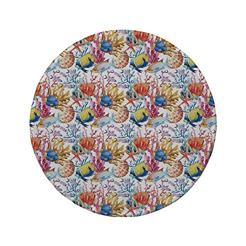 Non-Slip Rubber Round Mouse Pad,Ocean Animal Decor,Coral Reef Scallop Shells Fish Figures Sea Plants Polyp Murky Nautical -