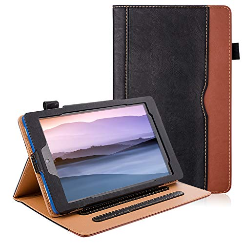 7 Tablet Leather Case (7th Generation,2017 Released), [Corner Protection][Auto Sleep/Wake] Lightweight Multi-Angle Viewing Folio Stand Cover Cases - Black/Brown ()