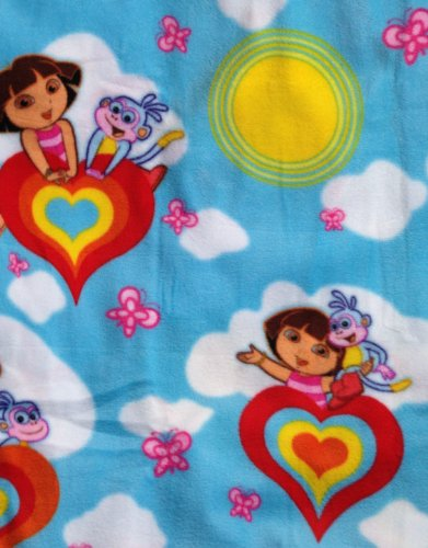 Nick, Jr Dora the Explorer & Boots on Sky Blue Fleece Fabric (Great for Quilting, Sewing, Craft Projects, Throw Pillows & More) 1 1/2 Yards X 50