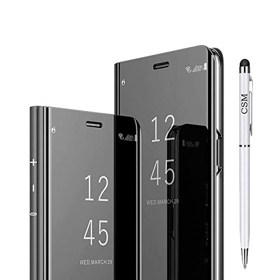 best service f4c4d 39447 Galaxy Note 9 Mirror Flip Case, Luxury Electroplate Plating Kickstand Case  Smart Clear View Cover with Screen Protector Full Coverage Flexible Film ...