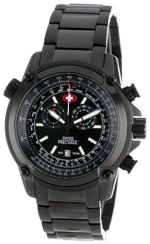 Swiss Precimax Men's SP13076 Squadron Pro Black Dial with Black Stainless-Steel Band Watch