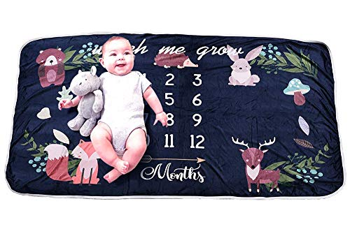 "Baby Monthly Milestone Blanket- Soft Cotton Extra Large Photography Background Blanket 63"" x 35 for New Mom & ()"