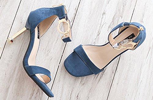 Soirée Aisun Sandales Cheville de Chaussures Sexy Métal Femme Bleu BUxSz4Ua