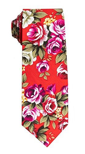 SPREZZA Men's Floral Tie Red Classic 2.75 inch Slim Cotton Necktie