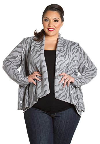 Sealed with a Kiss Designs Plus Size Tops - Sequin Cardigan 3X Grey