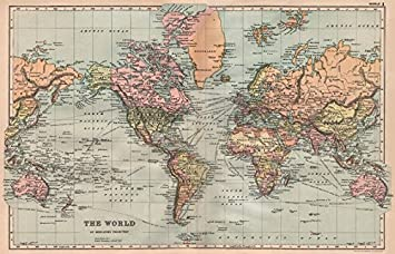 Amazon world on mercators projection shipping routes world on mercators projection shipping routes bacon 1896 old map gumiabroncs Gallery