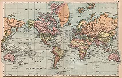 Amazon world on mercators projection shipping routes world on mercators projection shipping routes bacon 1896 old map gumiabroncs Image collections