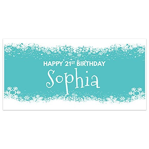 Teal and Snow Birthday Banner Party Decoration Backdrop