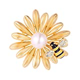 Big Flower Bee Brooch 18K Gold Plated Insect Series Pin Bouquet Wedding Accessories