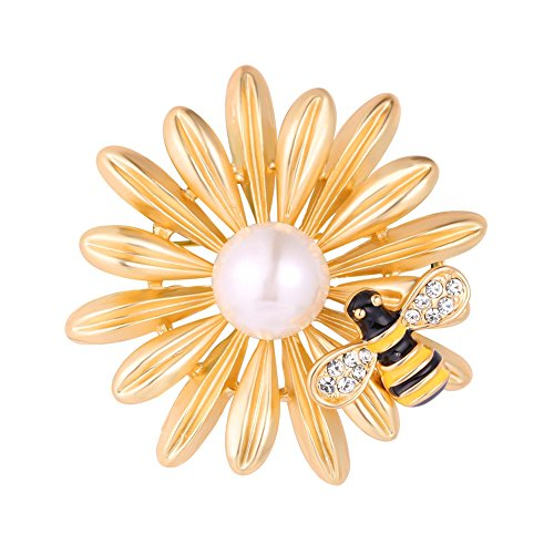 U7 Big Flower Bee Brooch 18K Gold Plated Insect Series Pin Bouquet Wedding Accessories