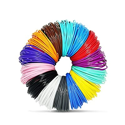 JoyCrafty 3D Printing Pen Filament Refills 1.75mm ABS 280 Linear Feet Total 14 Different colors fun pack FREE Stencils eBook & 4 Glow In Dark Colors Included