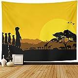 "Ahawoso Tapestry Wall Hanging 60""x50"" Creature Orange Africa Sunset African South Bush Safari Kenya Design Black Home Decor Tapestries Decorative Bedroom Living Room Dorm"